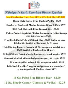 Early Bird Dinner Specials